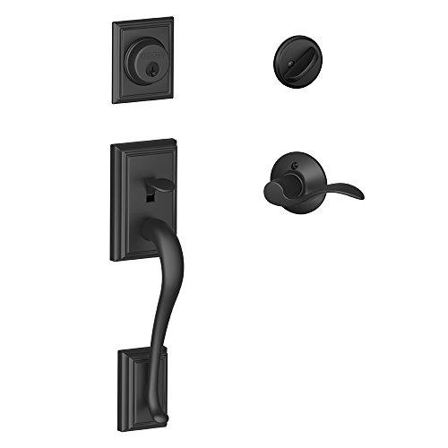 SCHLAGE Maçaneta de cilindro único Lock Company Addison e alavanca de realce de mão esquerda, preto fosco (F60 ADD 622 ACC LH)