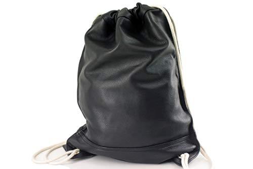 Malo Leder Turnbeutel Rucksack Sporttasche Gym Bag Vintage Schwarz Unisex Fitnesstasche Lederbeutel