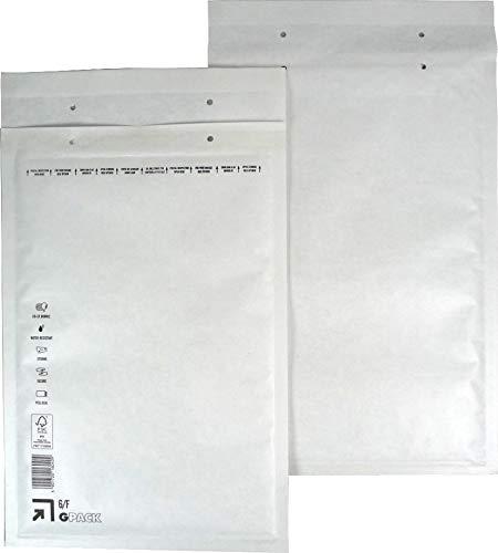 100 Stück Luftpolsterumschläge Luftpolstertaschen Versandtaschen Gr. F6 / DIN A4+ (240 x 350 mm außen) Farbe weiß