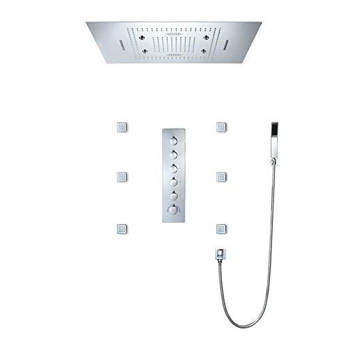 MIJOGO Duschsystem, angebrachte Decken 31 * 23-Zoll-Edelstahl-Regen Duschkopf & Handbrause & Tub Spout Dusche Set 6 Griffes, Badezimmer-Befestigungen mit Built-in Wireless-LAN-Funktion