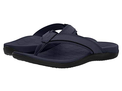 Vionic Men's Tide Toe-Post Sandal - Flip Flop with Concealed Orthotic Arch Support Navy 7 Medium US
