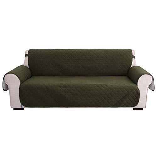 Amazon Brand - Umi Fundas para Sofa 3 Piezas Funda Sofa Funda Cubre Protectora contra Manchas Ajustable Suave Moderna Decorativa de Salon Sin Deslizante Verde Oscuro