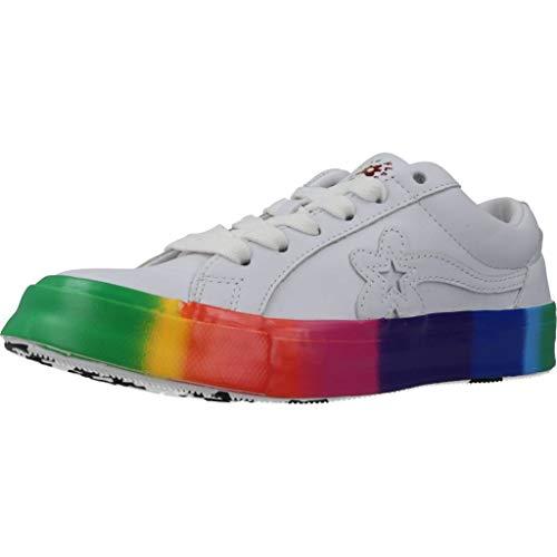 Converse X Golf Le Fleur OX Rainbow Echtleder-Sneaker auffallende Männer Turnschuhe Skater-Schuhe Freizeit-Schuhe Weiß-Bunt, Größe:44 1/2