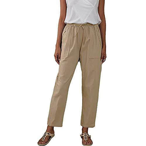 Sólido gran bolsillo de pino cintura de algodón de lino de las señoras sueltas pantalones casuales, caqui, XL