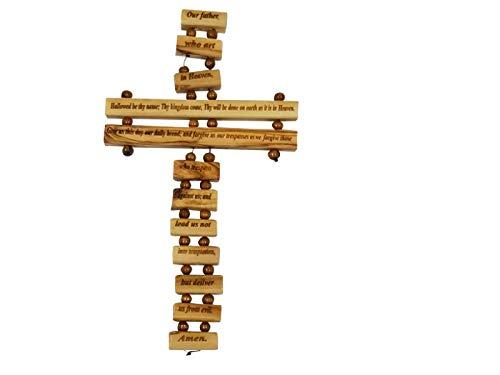 Bethlehem Gifts TM Olivenholz-Kreuz, Unser Vater im Himmel, Gebet, Schutz, englisches Heiliges Land