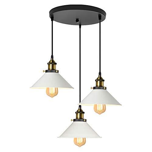 iDEGU Lámpara de Techo Industrial Vintage, Estilo Edison 3 Luces Lámpara Colgante E27 Iluminación Colgante de Interior de Metal para Comedor, Salon, Bar, Café - Ø220MM (Blanco 30CM)