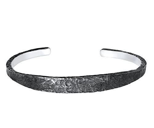 Kuzzoi Herren Silber Armreif offen, handgefertigt aus massiven 925 Sterling Silber oxidiert, Armspange gehämmert für Männer, Armband im Used Look 8 mm breit,19 g schwer