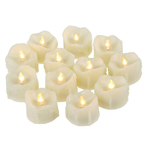 12 PCS Small Unscented Cream White Fake Flickering Battery Operated Powered Electric Flameless LED Tea Lights Tealight Votives Candles Bulk Set Lot Baptism Party Wedding Decorations Home Kitchen Decor