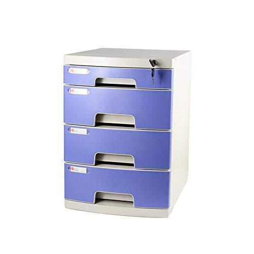 LHQ-HQ Schublade Sorter Dokumentenspeicherschrank, Desktop Extension Schublade Abschließbare Office-Organizer (Kunststoff), 29,5 * 39,4 * 43cm (Größe: Große 4-Schichten) Zeitungsständer