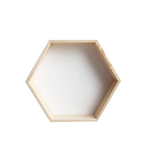 HUHUjb planken, zeshoekige honingraat plank creatieve rooster massief hout muur 30 * 35 * 18cm Rack hjb