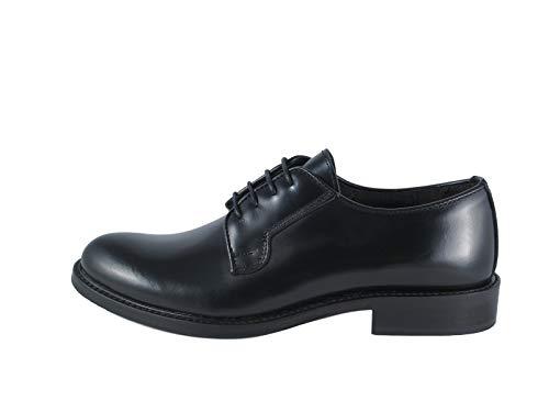 Ischia C - Zapato de mujer, liso de piel, con cordones, fabricado en Italia Negro Size: 40 EU