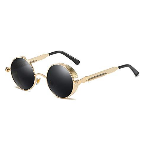 WEIMEITE Vintage Steampunk Gafas de sol Hombres Mujeres Gafas de sol redondas Retro Circle Lens Eyewear