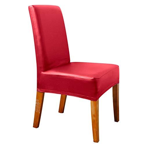 YAYANG Chair Cover Leder Bankettstuhlabdeckung Sitzkasten Feste Spandex Stretch Party Decor Stuhlabdeckung Esszimmer Schutz Casual (Color : Red, Specification : 4 Pcs Pack)