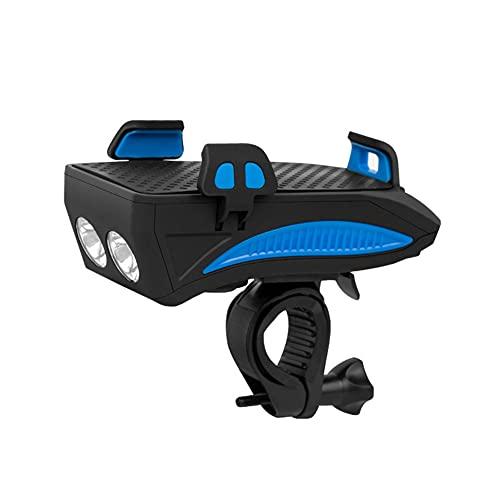 Luz de bicicleta multifuncional, linterna de deslizamiento de bicicleta con función de soporte de cuerno y teléfono móvil, faros de cuatro en uno de carga, adecuado para bicicletas de carreter