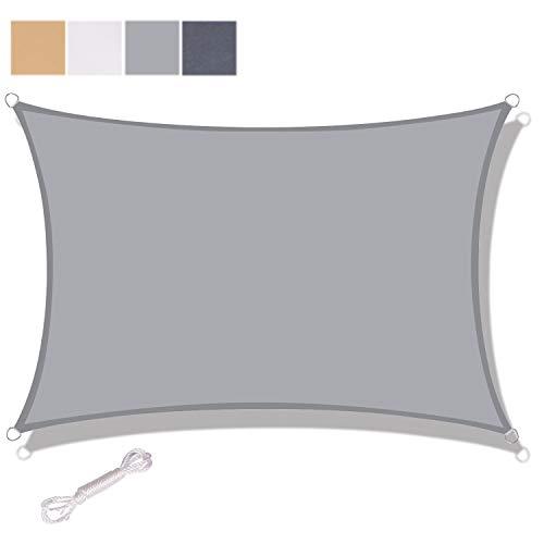 SUNNY GUARD Toldo Vela de Sombra Rectangular 2x3m Impermeable a Prueba de Viento protección UV para Patio, Exteriores, Jardín, Color Gris