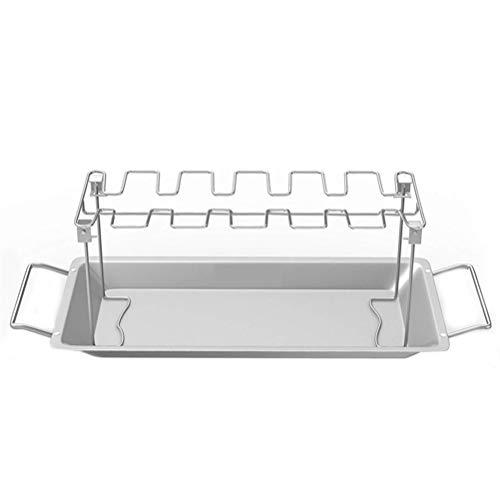 Sarplle Hähnchenschenkelhalter Vertikal Bräter Rack Edelstahl Grillzubehör mit Auffangschale für Backofen & Grill Kann 14 Hähnchenschenkel halten