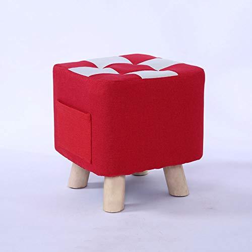 NXYJD Suelo de Madera Maciza de algodón Taburete pequeño Puerta otomana Zapato Taburete Sala de Estar Funda Lavable Puf Sofá Banco de salón Muebles para niños (Color : B)