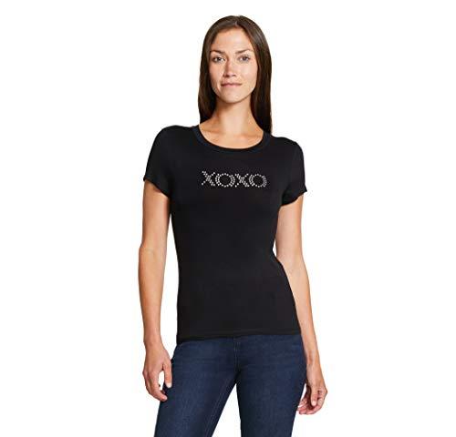 XOXO Women's Jersey Knit Short Sleeve Tee Shirt (Large, Black)