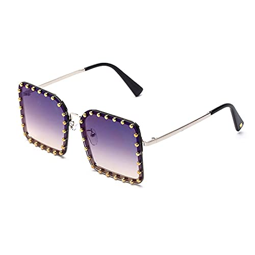 BANLV Gafas de Sol de Mujer Europeas y Americanas Uñas de Cobre Gafas de Sol cuadradas Mujer