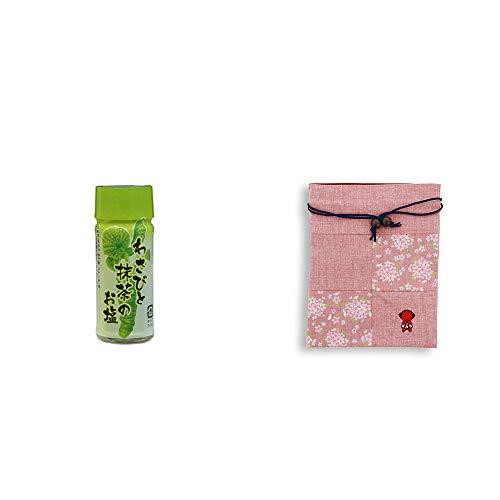 [2点セット] わさびと抹茶のお塩(30g)・おねがいさるぼぼ 巾着【ピンク】