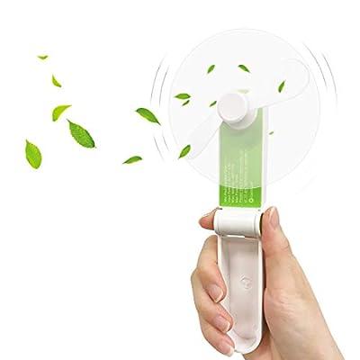Genround Hand Held Fan, Hand Fan Battery Operated, Mini Portable Fan USB Travel Fan, Electric Handheld Fan Rechargeable, Foldable Pocket Fan, Travel/Home/Personal Fan Cooling (2 Speed)