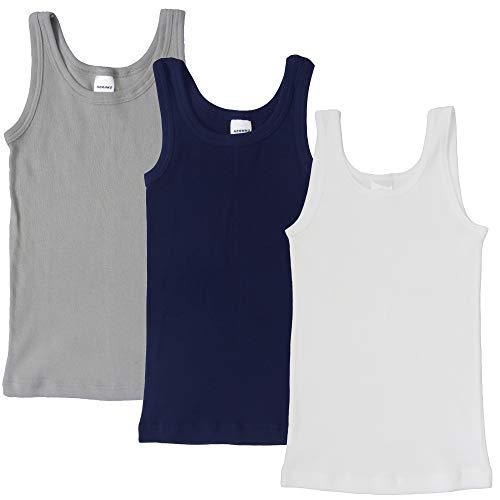 HERMKO 2800 3er Pack Jungen Achselhemden aus 100% Bio-Baumwolle, Größe:104, Farbe:Mix w/m/g