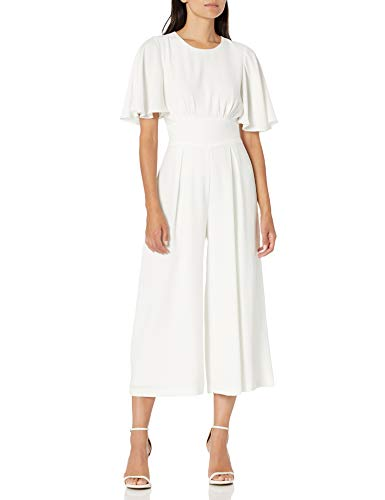 Eliza J Women's Flutter Sleeve Crop Jumpsuit Dresses, Ivory, 8