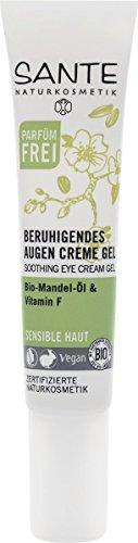 SANTE Naturkosmetik Beruhigendes Augencreme Gel, Augencreme, Mindert Fältchen, Feuchtigkeitsspendent, Vegan, 15g