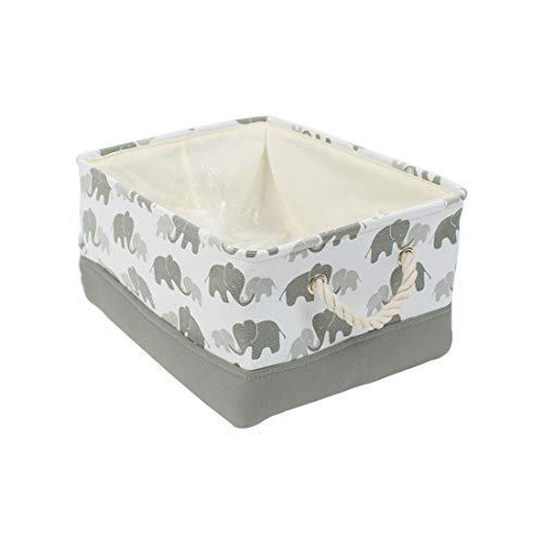 uxcell Storage Basket Bin with Cotton Handles, Fabric Storage with Drawstring Closure for Clothes Towel Toys Organizer,Laundry Basket for Home Shelves Closet Gray Medium