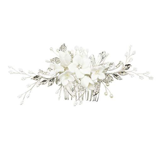 Lurrose Granos de cristal Peine del pelo Flor de cerámica blanca Joyería nupcial del pelo Peine del lado Broche cabello Accesorios boda Gorros para mujeres niñas