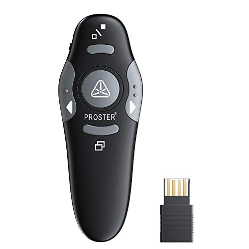 Proster 2.4GHz Präsentation Fernbedienung Presenter Laser Pointer Wireless Presenter PowerPoint Klicker Schnurloser Presenter Fernsteuerung mit rotem Laserpointer für Windows Mac Linux- Helles Schwarz