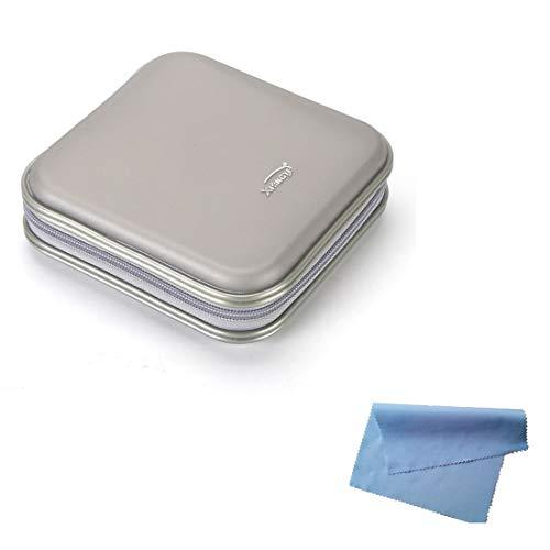 Estuche Rígido para Almacenamiento de CD en DVD para 40 Discos. Durable Organizador de Viajes. (Plata)