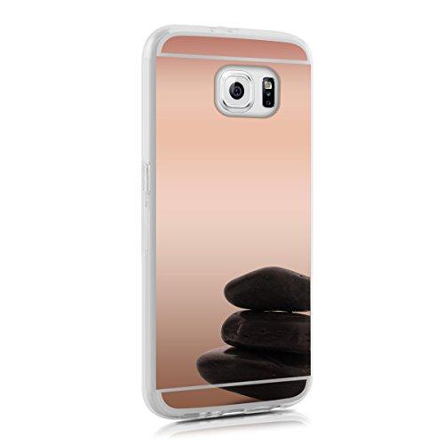 kwmobile Funda Compatible con Samsung Galaxy S6 / S6 Duos - Carcasa Protectora Trasera de TPU para móvil en Oro Rosa con Efecto Espejo