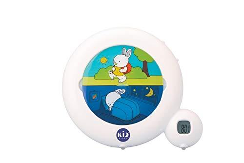 Réveil Enfant Educatif - Jour/Nuit - Lumineux - 2 Programmes : Matin ou Sieste - Option Veilleuse - Mixte : Fille et Garcon - Classic - Blanc - Pabobo x Kid Sleep