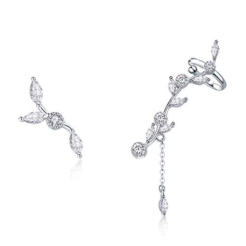 BAMOER 925 Sterling Silver Ear Crawler - Cuff Earrings Cubic Zirconia Ear Climber Earrings for Women Christmas Gift
