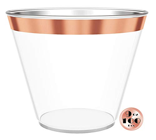 JL Prime 100 Rose Gold Plastic Cups, 9 Oz Heavy Duty Reusable Disposable Rose Gold Rim Clear Plastic Cups, Old Fashioned Tumblers, Hard Plastic Drinking Cups for Party and Wedding