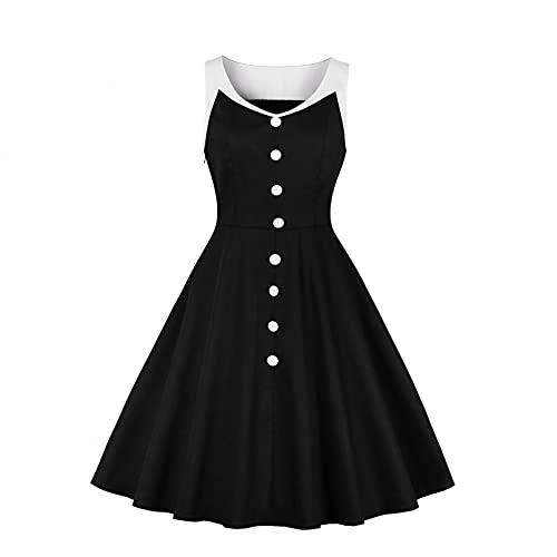 MWLSW Estilo Retro algodón Blanco Contraste Negro Vestido Vintage Mujeres botón Decorado sin Mangas Oficina Dama Elegantes Vestidos de Verano-XL