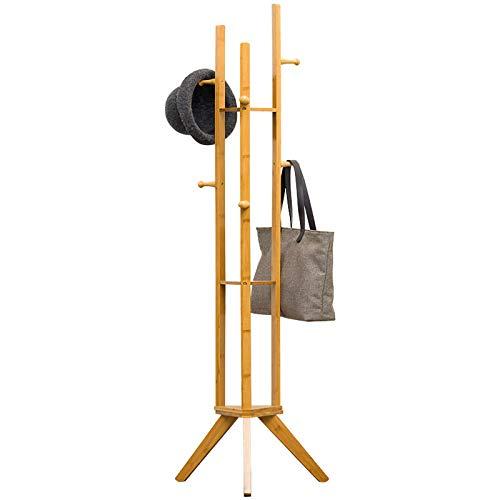 Belleashy - Percha para abrigos o abrigos de tela, diseño de árbol de pie libre, con 6 ganchos de bambú, 3 capas, para ropa, sombrero o bolsa