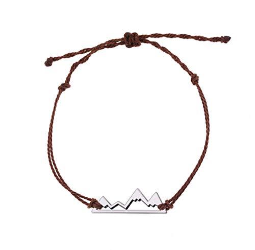 Romantico braccialetto per gli amanti della montagna, dell'avventura, dell'escursionismo, dei viaggi e dell'aria aperta e Lega, colore: Marrone