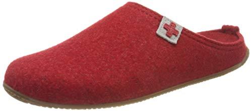 Living Kitzbühel Unisex Pantoffel Filz Schweizer Kreuz mit Fußbett Hausschuh, 350 rot, 40 EU