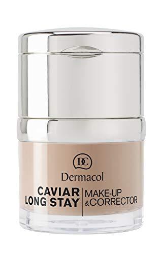 Dermacol Base Correctora de Maquillaje 2en1 de Larga Duración con Extracto de Caviar - Corrector de Manchas, Mate, Hipoalergénico, No Graso - Crema de Belleza Hidratante, Cobertura Total- Bronceado