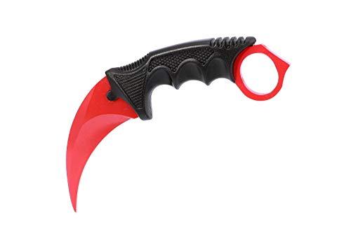 ariknives - Counter Karambit Skin Knife CS GO Streik Messe Jagdmesser taktisches Überlebens Camping Werkzeug (Red Ruby)