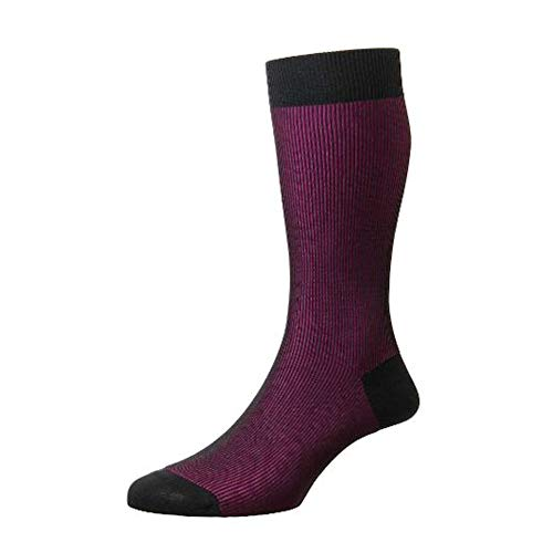 Pantherella Herren 1 Paar Santos Schattenrippe Baumwolle Lisle Socken Holzkohle 2 41-43