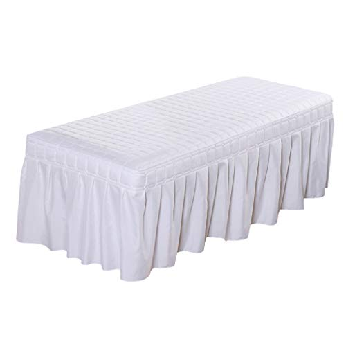 Flameer Solid Color Massage Table Skirt Beauty Facial Bed Bedding Linen Valance Sheet Cover with 21inch Drop Bedskirt - White-190x70cm, as described