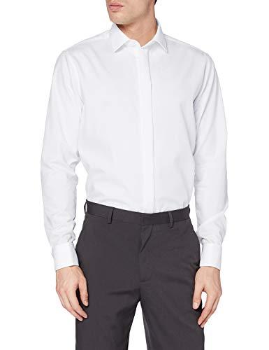 Seidensticker Herren Modern Kent Party Businesshemd, Weiß (Weiß 1), 44