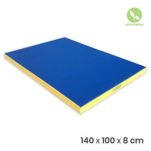 NiroSport Tapis de gymnastique 140x100x 8cm, tapis de sport, tapis de sol, tapis de yoga, bleu