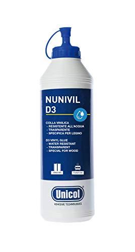 Unicol Nunivil D3 Colla Vinilica Specifica per Legno Resistente all'Acqua Flacone 500 gr, Bianco in Applicazione, Trasparente Dopo l asciugatura