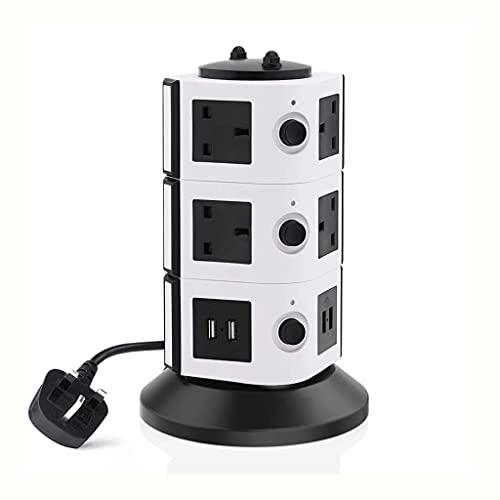 Diaod Tira de Potencia Vertical Múltiple Protector de sobrecarga Zócalo de extensión de Enchufe de conmutación Individual Estación de Carga USB 2M Cable (Color : 3 Layer)