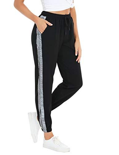 Aiboria Pantalon Chandal Mujer Largos Pantalones de Deporte Yoga Fitness Jogger de Punto de Rayas Casuals Franja Reflectante de con Bolsilpara Gimnasio Deportes Correr Entrenamiento Jogging