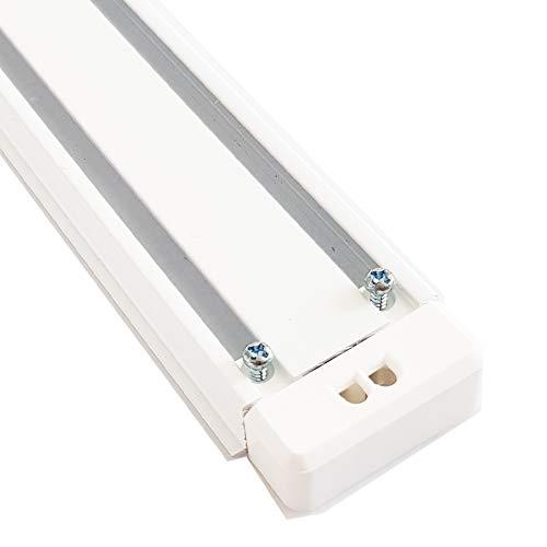 Nalbur Aluminium Gardinenschiene Schiebevorhang Flächenvorhang Set 2 3 läufig weiß Deckenmontage 1 teilig (2 läufig, 290cm)